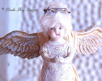 Angel Art Doll Sculpture Folk Art Primitive Angel Sculpture Frozen Shabby Decor Found Object  Angel Art Doll