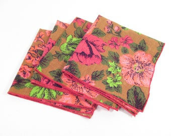 Vintage cloth napkins, mid century modern, pink and red floral print
