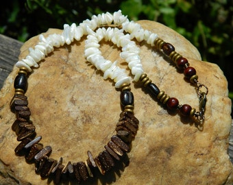 Mother of Pearl Shell Beads and Coconut Wood Bead Necklace