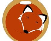 Luggage Tag - Sleeping Fox - 2.5 inch or 4 Inch Round Plastic Bag Tag