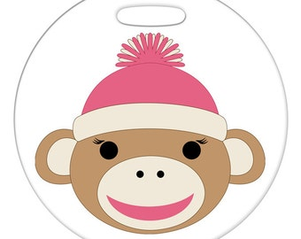 Luggage Tag - Girl Sock Monkey, Pink - Round Large Plastic Bag Tag