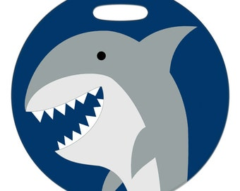 Luggage Tag - Shark - 2.5 inch or 4 Inch Round Plastic Bag Tag