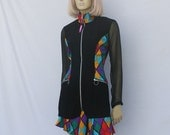 vintage 90s SHEER SLEEVE suit | rainbow diamonds jacket and skirt | S | free ship