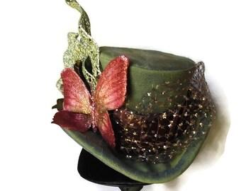 Mossy Green Mini Top Hat