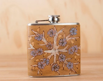 Leather Flask - Handmade Hip Flask in the Winter pattern with flowering tree in brown and blue - 6oz Size - Bridesmaid Flask - Wedding Flask