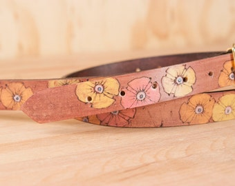 Mandolin Strap - Leather with Flowers in yellow, pink, orange and antique mahogany - Handmade in the Poppy Garden Pattern