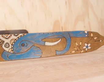 Guitar Strap - Leather Guitar Strap - Ruby pattern with Elephant and flowers - Handmade leather in Blue, gold and antique brown