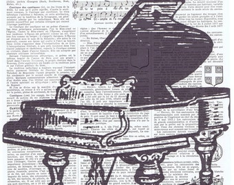 Piano.Pretty picture,music lover.Gift.Repurposed Vintage Book Page Print.Sing.Song.eco.mixed media.art.home decor,french.music instrument