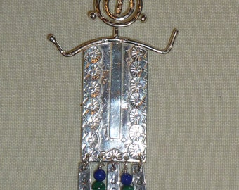 Sterling Silver Petroglyph Charm Pendant Necklace