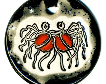 Flying Spaghetti Monster Ceramic Necklace in Black and Gray