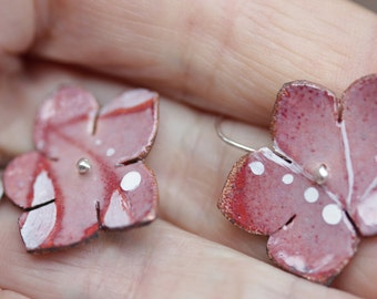 Spring Flower Earrings - Torch fired Enamel