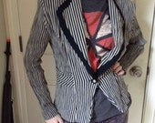Vintage 80s black and gray stripe gothic jacket ~ steampunk ~ carnival