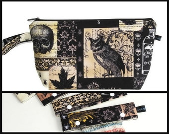 Wedge Bag, Shawl Project Size Knitting Bag - Nevermore, and Optional Needle Keeper