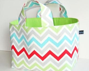 Fabric Basket, Tote, Storage Bin, Bright Chevrons
