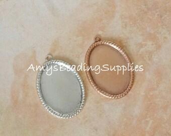Vetri Beaded Oval Pendant, NUNN DESIGN, Antique Silver or Antique Copper (2 Pieces)