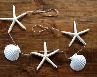 4', 6', or 8' Large White Finger Starfish & Seashell Garland / Coastal Shell Mantle Home Wedding Holiday Decor