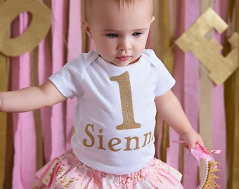 Pink and Gold Birthday Outfit- First Birthday Set- Baby Girls Outfit- Baby Girls Clothes- Girls Pink Outfit- Cute Clothes for Baby- Party