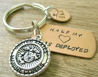 Marines Keychain, Half My Heart is Deployed, marine wife, marine husband, deployment keychain, military, USMC gift, optional initial disc