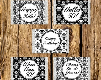 Printable 50th Birthday Black and White Damask Mini Candy Bar Wrappers - Instant Download