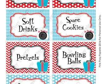 Printable Bowling Birthday Food Labels