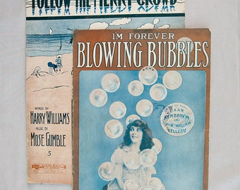 Antique Sheet Music I'm Forever Blowing Bubbles and Follow The Merry Crowd