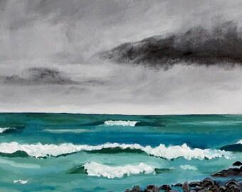 Stormy Seascape Aqua Surf PRINT VERTICAL Shelagh Duffett Nova Scotia
