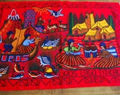 Vintage Tapestry ~ Crewel ~ Embroidered Lake Titicaca Peru