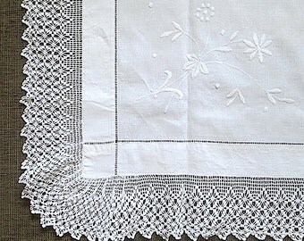 Antique Irish Linen Tablecloth with Whitework Embroidery and Hand Crocheted Trim