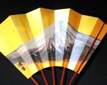Japanese Dance Fan - Vintage Fan -  Mai Ogi - Japanese Fan - Paper Fan - Mountain - Mount Fuji in Gold (F82)