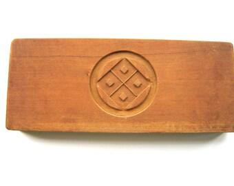 Vintage Kashigata - Japanese Cake Mold - Wood Mold - Wood Cake Mold - Vintage Mold - Kamon - Family Crests - Double Sided