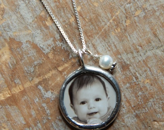 New Mom Necklace- Mommy Necklace- Personalized Photo Necklace-Custom Photo-Grandma Necklace-Mother's Day Jewelry-Soldered Glass Charm