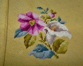 Finished embroidered 2 pillow cases needlepoint retro floral design fabric back recycle destash