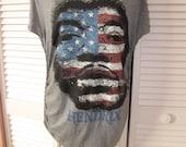 super soft gray JIMI HENDRIX American Flag shredded backless t shirt