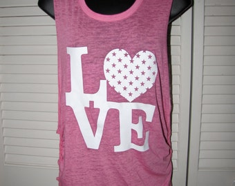 baby soft pink and white LOVE polka dot star heart shredded backless tank top muscle t