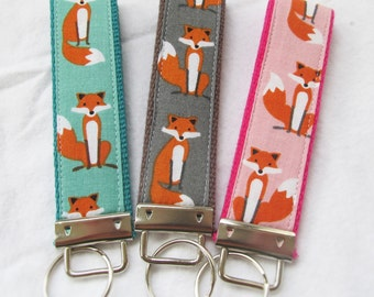 KeyFob Key Chain Wristlet in - Fancy Foxes in Teal, Gray or Pink - Fabric Keychain