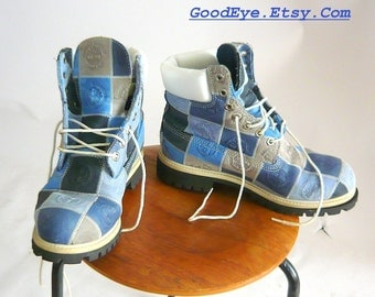 Vintage TIMBERLAND High Top Boots Leather Waterproof BLUE Patchwork Oxford Ankle Womens sz 9 .5 Eu 41 UK 7 Mens size 7 .5