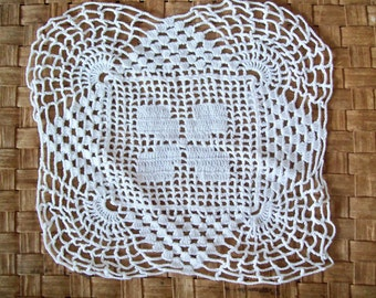 Vintage Doily, Handmade Doily, Hand Crocheted Doily, White, Square Doily, Filet Crochet, Home Decor, Wedding Decor, Craft Supply