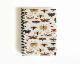 Bugs on a Grid A5 Spiral Paper Notebook, Sketchbook, Spiral Bound Writing Journal Diary, Back to School, Natural History, Under 20, Ciaffi