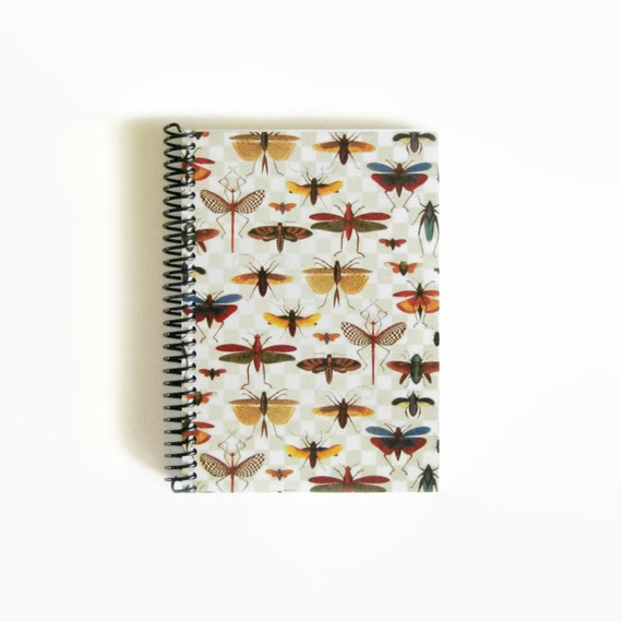 Bugs on a Grid A5 Spiral Paper Notebook, Sketchbook, Spiral Bound Writing Journal Diary, Back to School, Natural History, Under 20, SALE