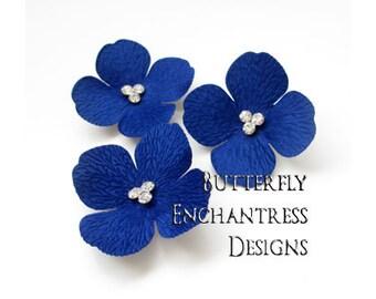 Something Blue Wedding, Rustic Nautical Beach Bridal Hair Accessories, Bridesmaid Gift - 3 Royal Blue Sedona Hydrangea Bridal Hair Combs