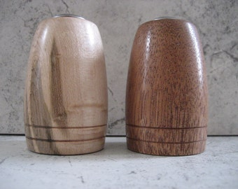 Hand turned Salt and Pepper Shakers (Mahogany/Birdseye Maple)