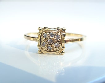 Diamond and 14k gold Postage Stamp Ring