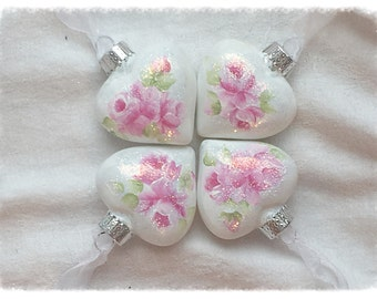 Puffy White HEART Christmas Ornaments Shabby Chic Hand Painted PINK Roses ecs sct schteam SVHTeam
