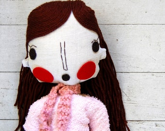 Rag Doll, Handmade Girl Doll, Fabric Doll, Cloth Doll, Custom Doll, Custom Portrait Doll, Girlfriend Gift, Mother's Gift, Wife Gift