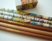 Set of Six Map Pencils with Eraser / Traveller Pencils / World Map Pencils