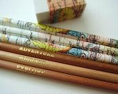 Satz von sechs Karte Bleistifte mit Radiergummi / Traveller Bleistifte / Weltkarte Bleistifte