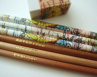 Set of Six Map Pencils with Eraser / Traveller Pencils / World Map Pencils
