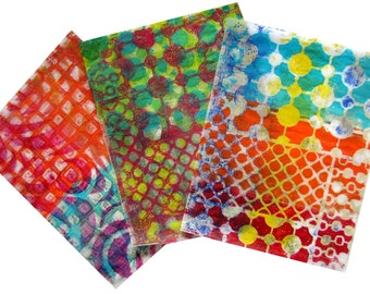 Original Handmade Gelli Print Collage Artist Papers for Mixed Media and Art Journaling #168