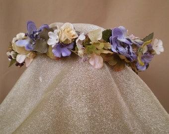 Shabby garden floral head wreath flower bridal crown bohemian wedding hair flowers Renaissance faerie costume prom