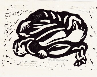male figure linocut, 4 x 6, Evening #1